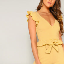 Load image into Gallery viewer, Yellow Knitted Ruffle Trim Striped Top and High Split Side Wide Leg Pants Set