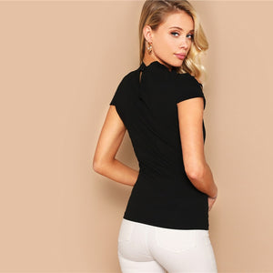 Keyhole Back Ladder Cut-out Cap Sleeve Top