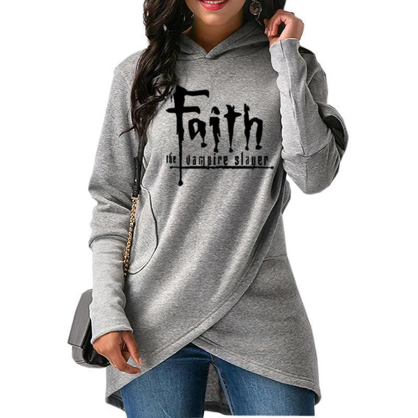 2018 New Fashion Faith Print Hoodies Women Sweatshirts Femmes Kawaii Print Loose Cotton Autumn And For