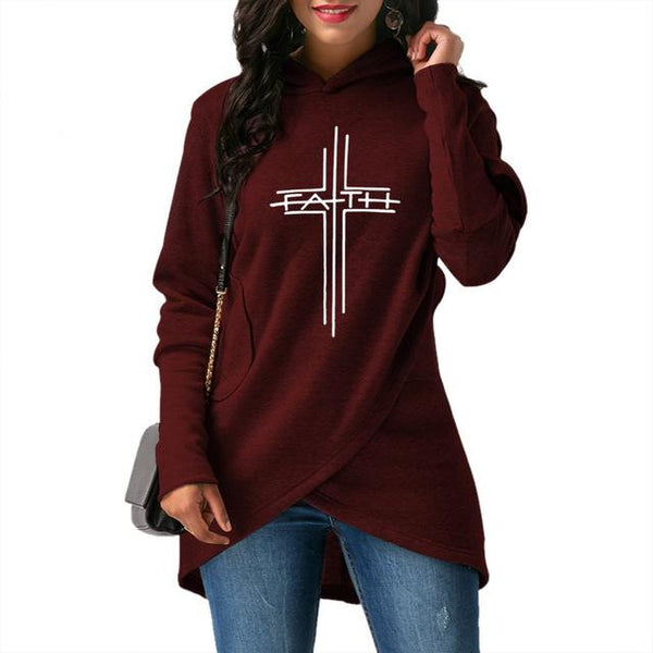 High Quality And Large Size 2018 Fashion Faith Print Hoodies Sweatshirts Women Tops Harajuku Hooday Girls Thick Funny Creative