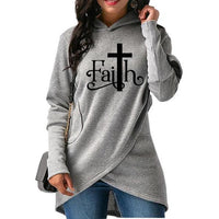 High Quality Large Size 2018 New Fashion Faith Print Sweatshirt Femmes Sweatshirts Hoodies Women Female Clothings Casual Street
