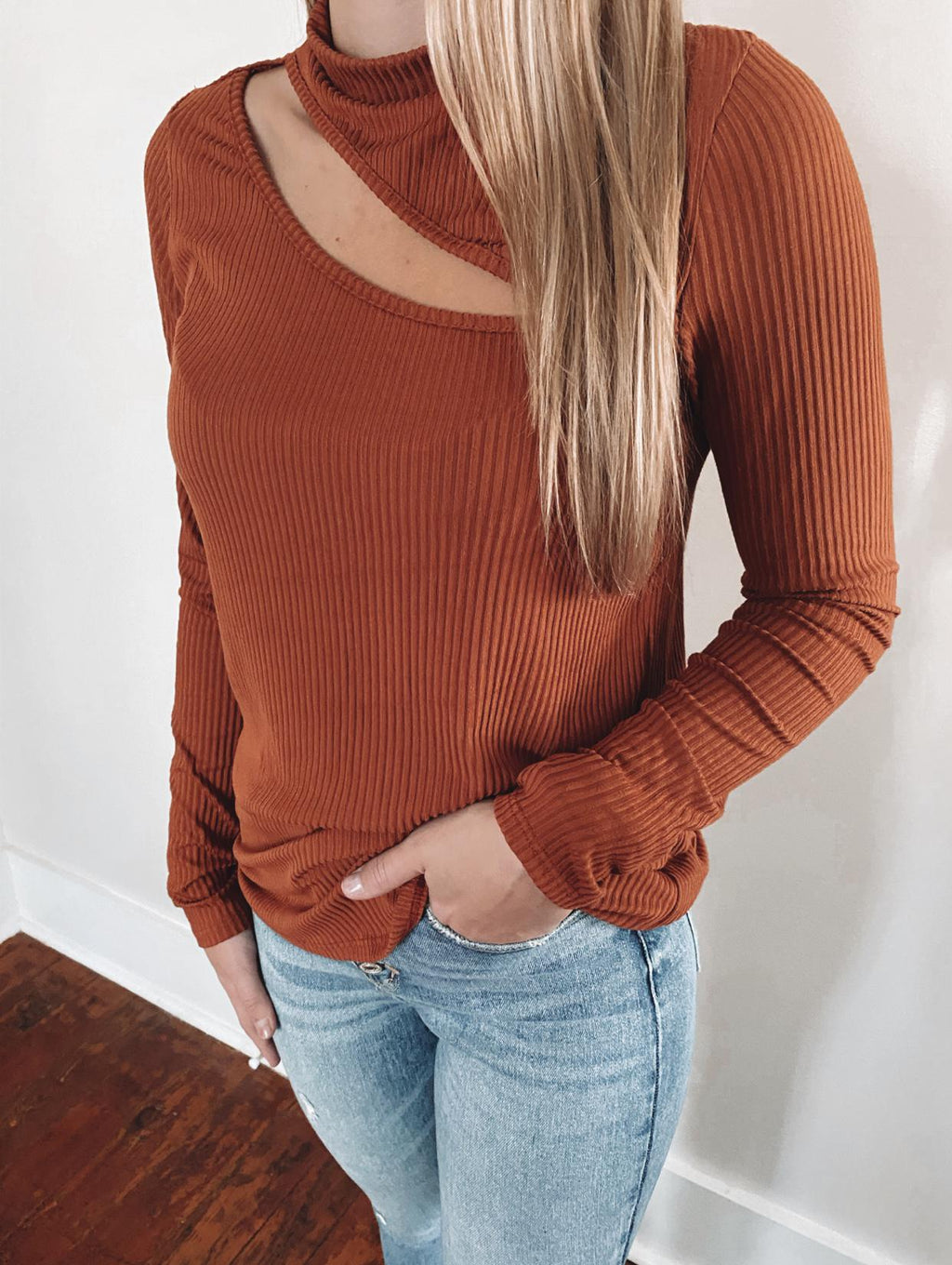 Chelsey Cut Out Long Sleeve: Rust
