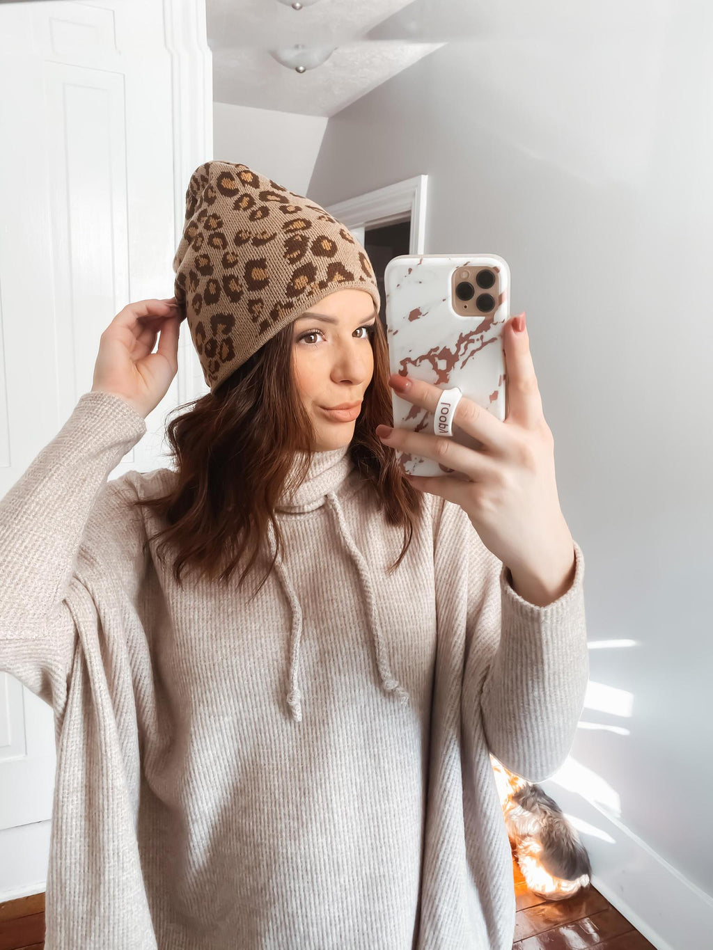 Leopard Fleece Lined Beanie