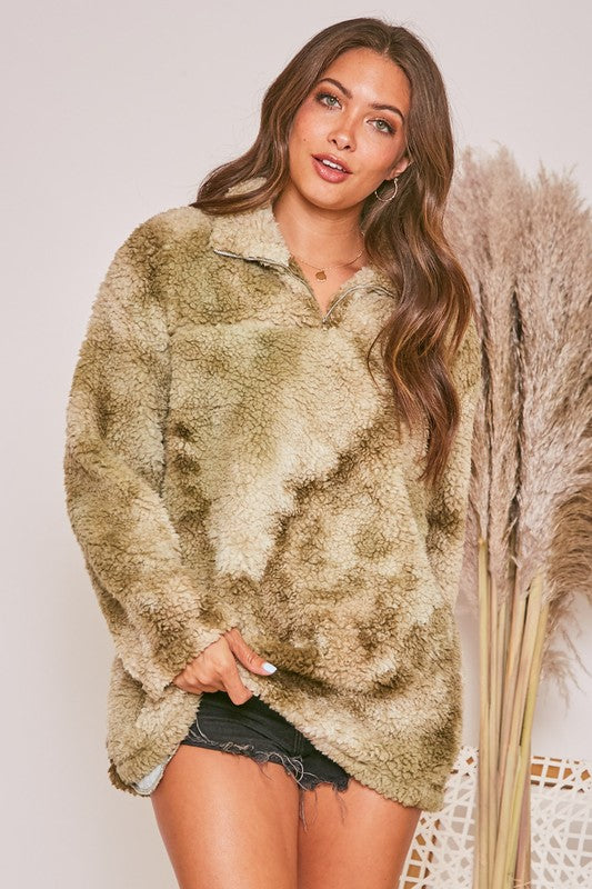 Tie Dye Sherpa Pullover: Olive