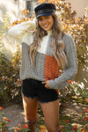 Avery One Shoulder Color Block Cable Knit Sweater