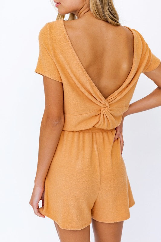 Twist Back Romper: Dusty Peach