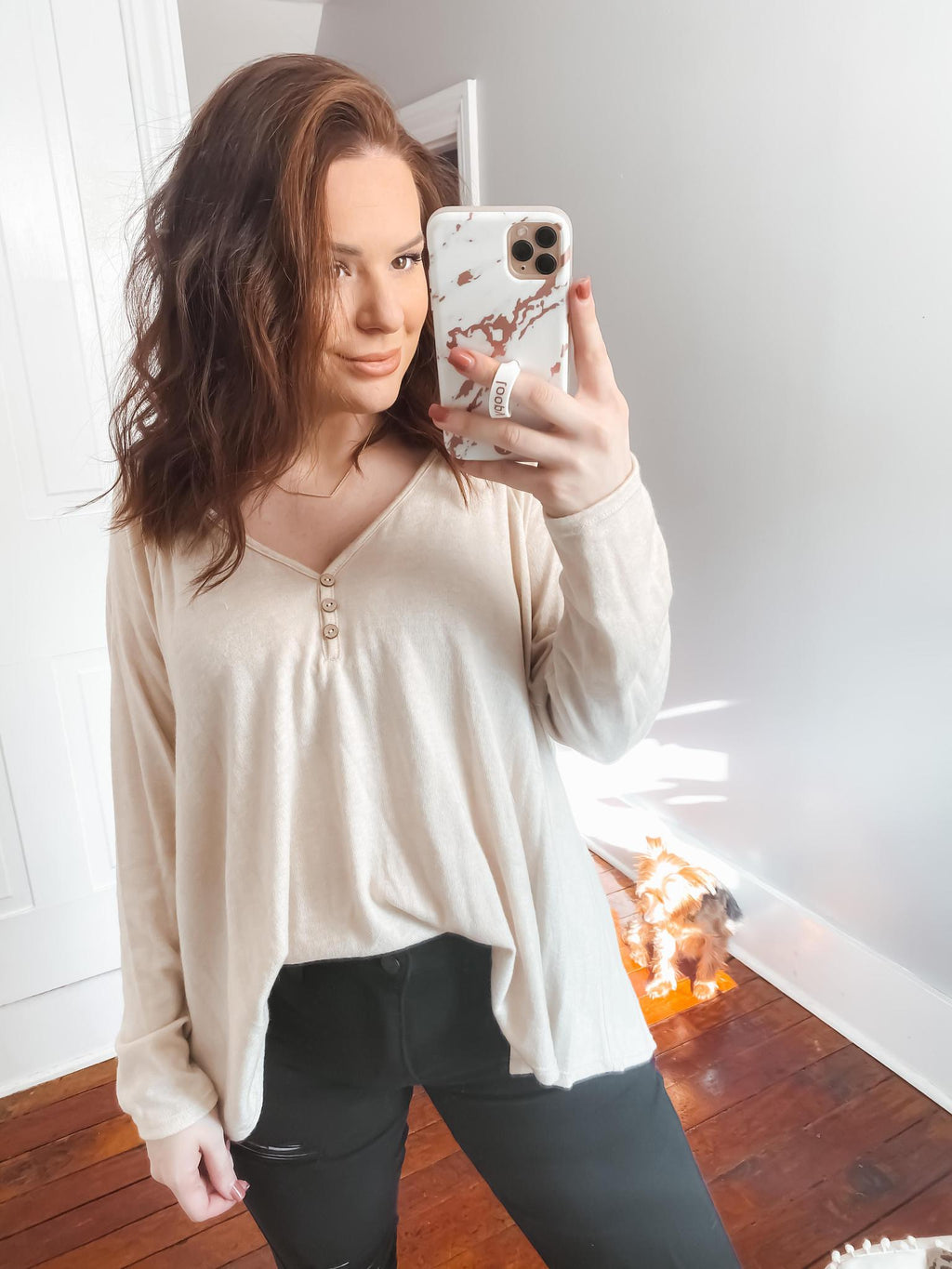 Sippin' Cider Long Sleeve V- Neck Top: Beige