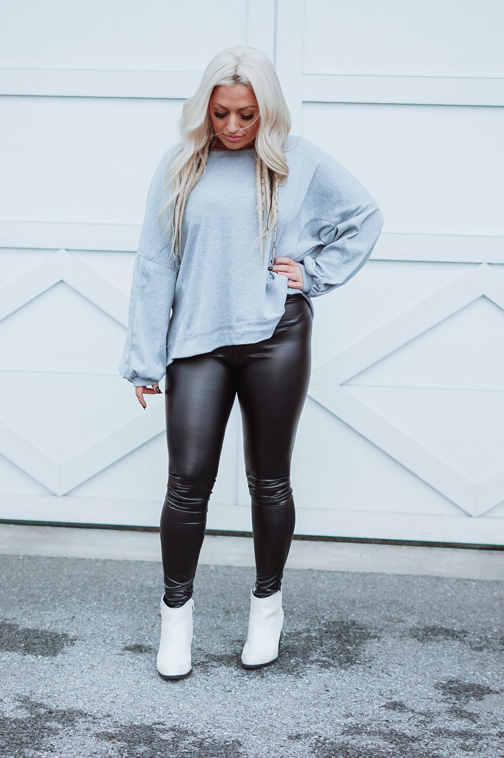 Faux Leather High Waisted Leggings: Black