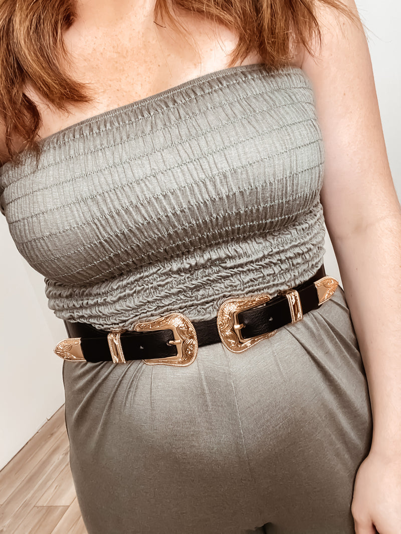 Double Buckle Stretch Belt: Black