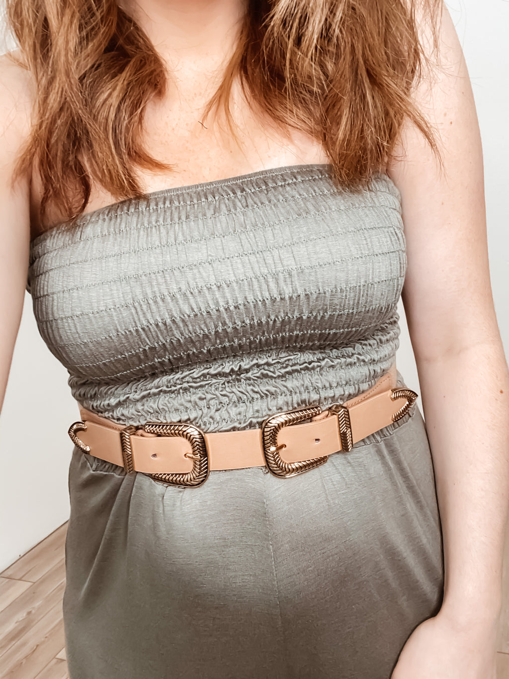 Double Buckle Stretch Belt: Taupe