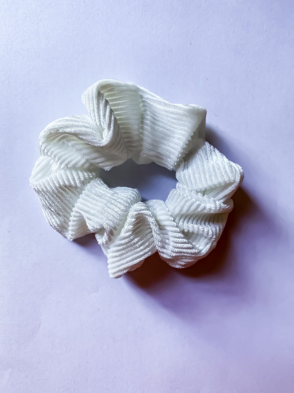 White Ribbed Scrunchie
