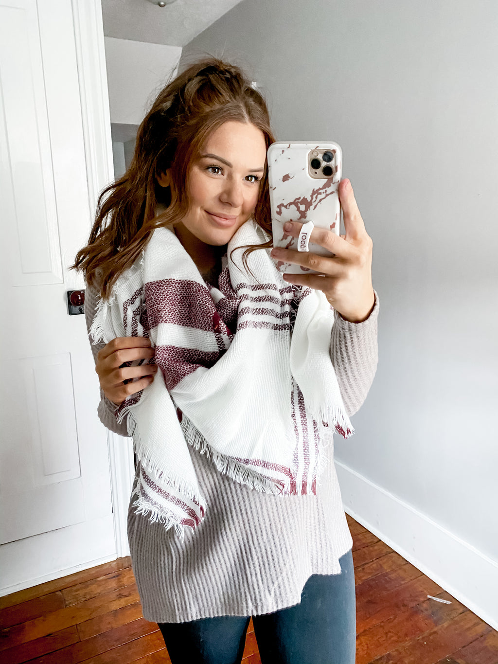 Baby It's Cold Outside Blanket Scarf: White/Red