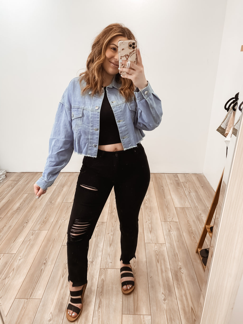 Aleena Oversized Crop Denim Jacket