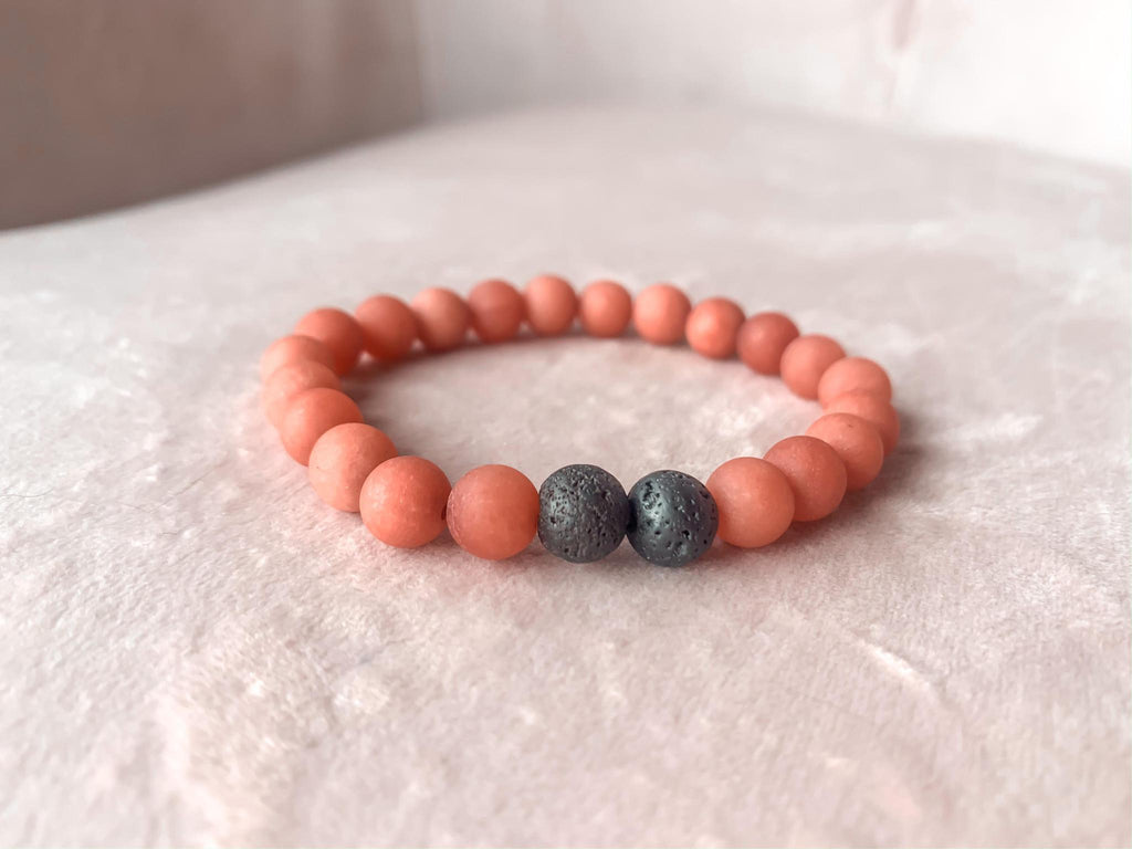 Coral Stone Bracelet with Lava Beads