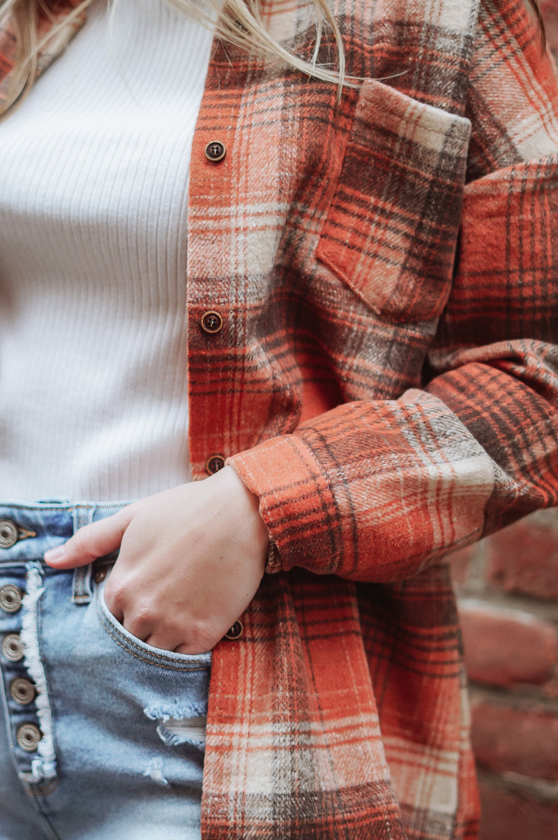 Riley Flannel: Orange/Brown