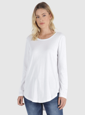 Betty Basics - Megan Long Sleeve Tee White