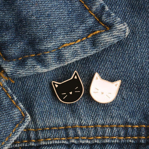 Black and White Cat Enamel Pins