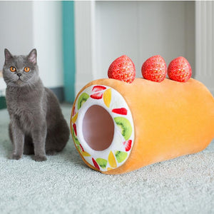 Cat to scale with Fruit Cake Roll Cat Bed