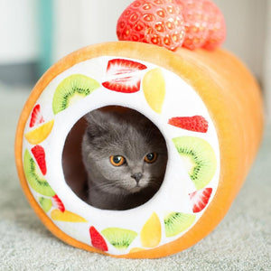 Cat inside Fruit Cake Roll Cat Bed