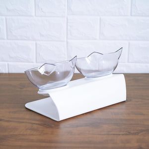 Transparent cat-shaped food and water bowl set