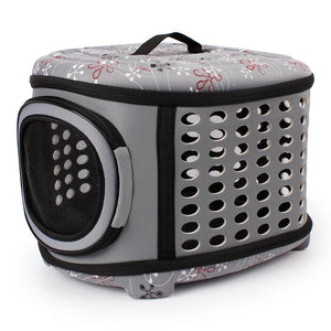 Grey collapsible pet carrier