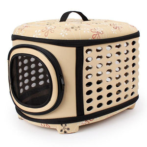 Beige collapsible pet carrier