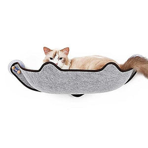 Grey window mounted cat hammock