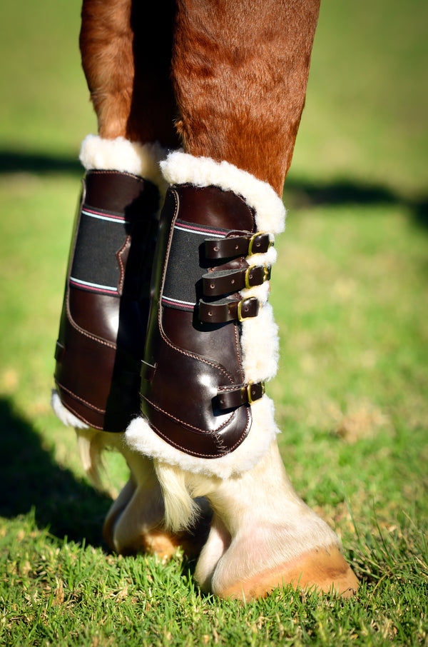 Brown Leather Tendon & Fetlock Horse Boots with Faux Sheep Skin