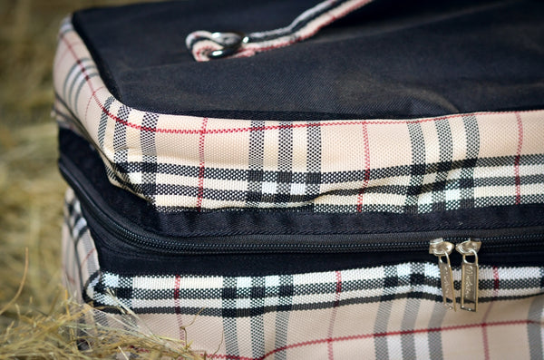 Beige Checked Groom Bag & Feed Bag