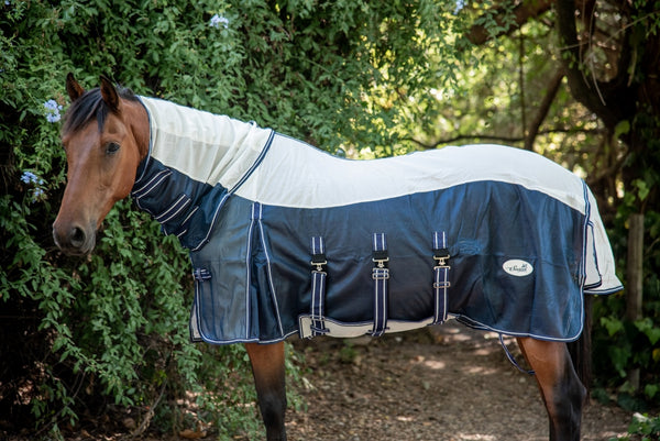 ST-FR/004 White & Blue Fly Sheet with Neck Piece & Fly Mask