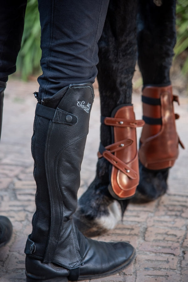 Tan Leather Tendon & Fetlock Horse Boots