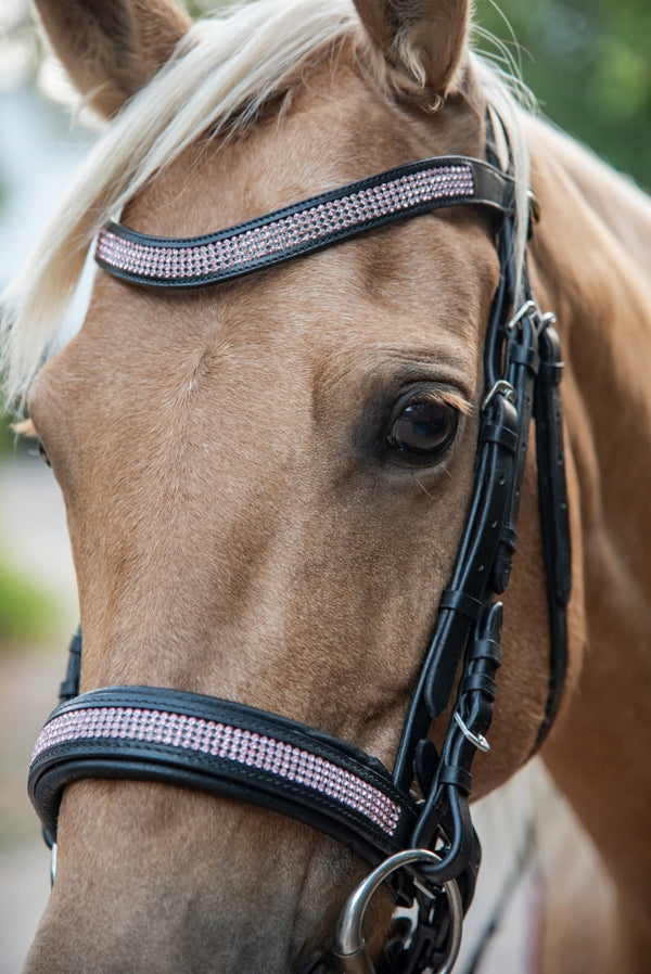 ST-BR/002 Black Leather Snaffle Bridle with Pink Diamantes