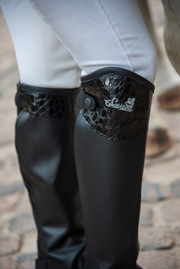 Black Leather Chaps Crocodile Skin Design