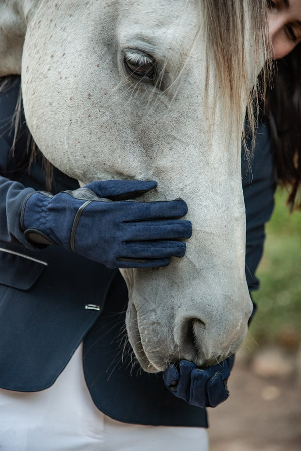 ST-GL/001 Synthetic Blue Riding Gloves