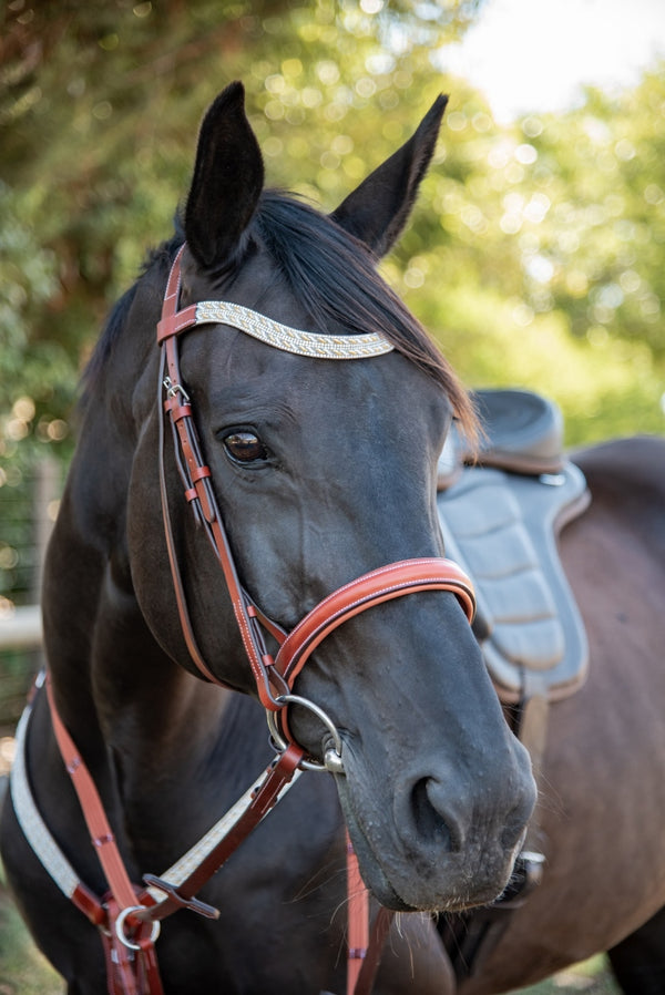 ST-BR/032 Tan Leather Snaffle Bridle with Diamantes