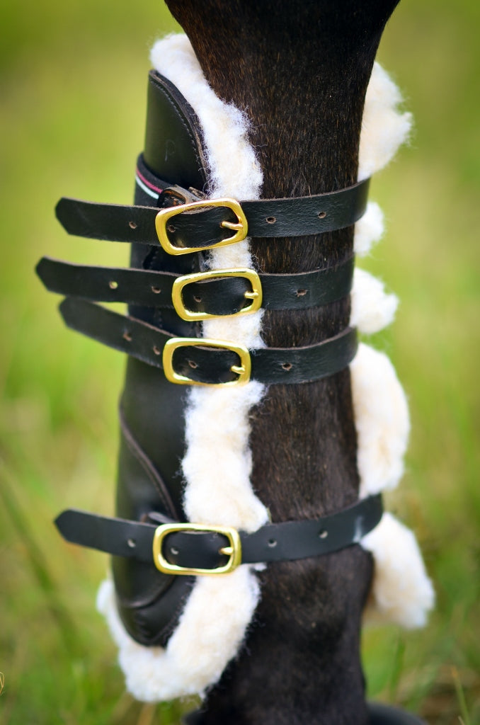 Black Leather Tendon & Fetlock Horse Boots with Faux Sheep Skin