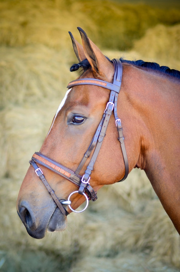 ST-BR/004 Brown Leather Bridle with Amber Diamantes