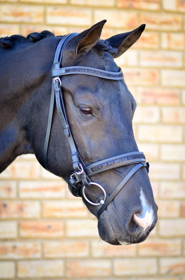 ST-BR/003 Black Leather Snaffle Bridle with Black Diamantes