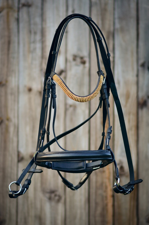 ST-BBR/002 Black Leather Bitless Bridle Gold Design