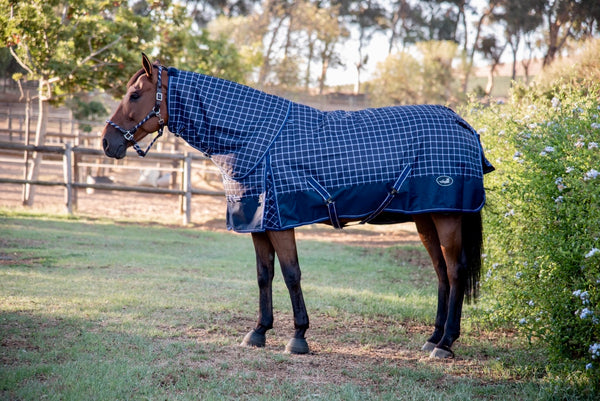 ST-TR/001 Navy & Silver Checked Turnout Rug with Neck Piece