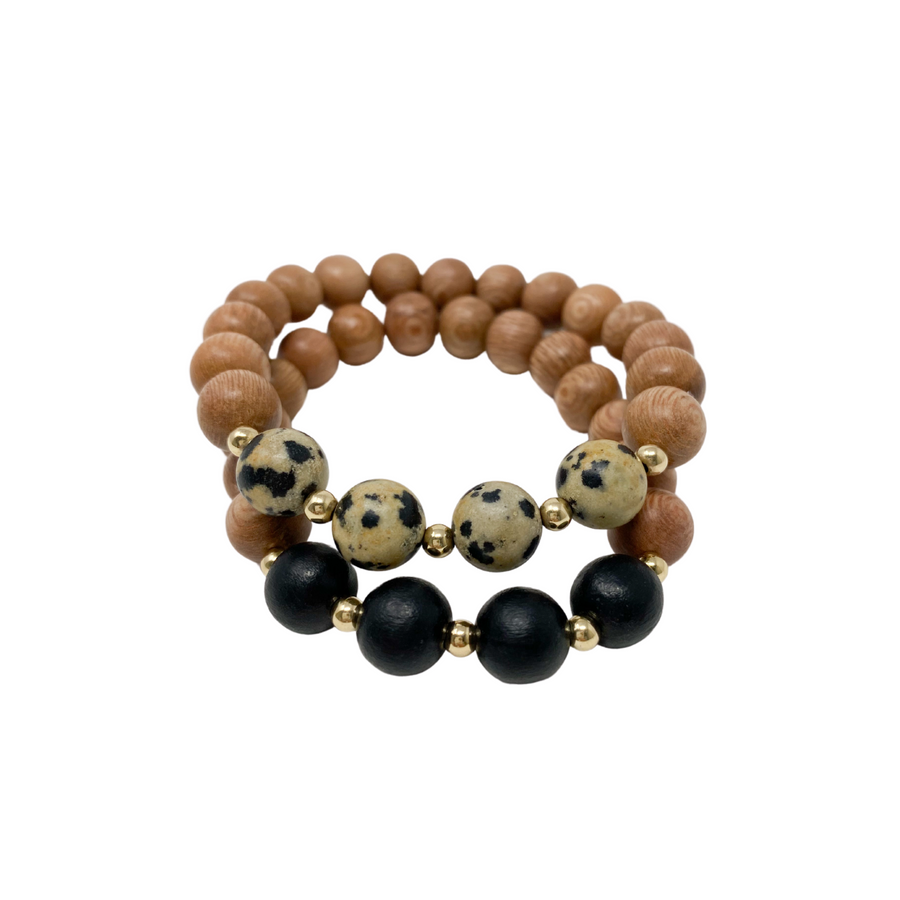 the ava | black & leopard | rosewood stack