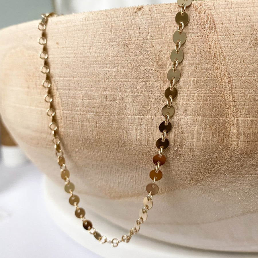 sequin disc necklace | 14k gold filled
