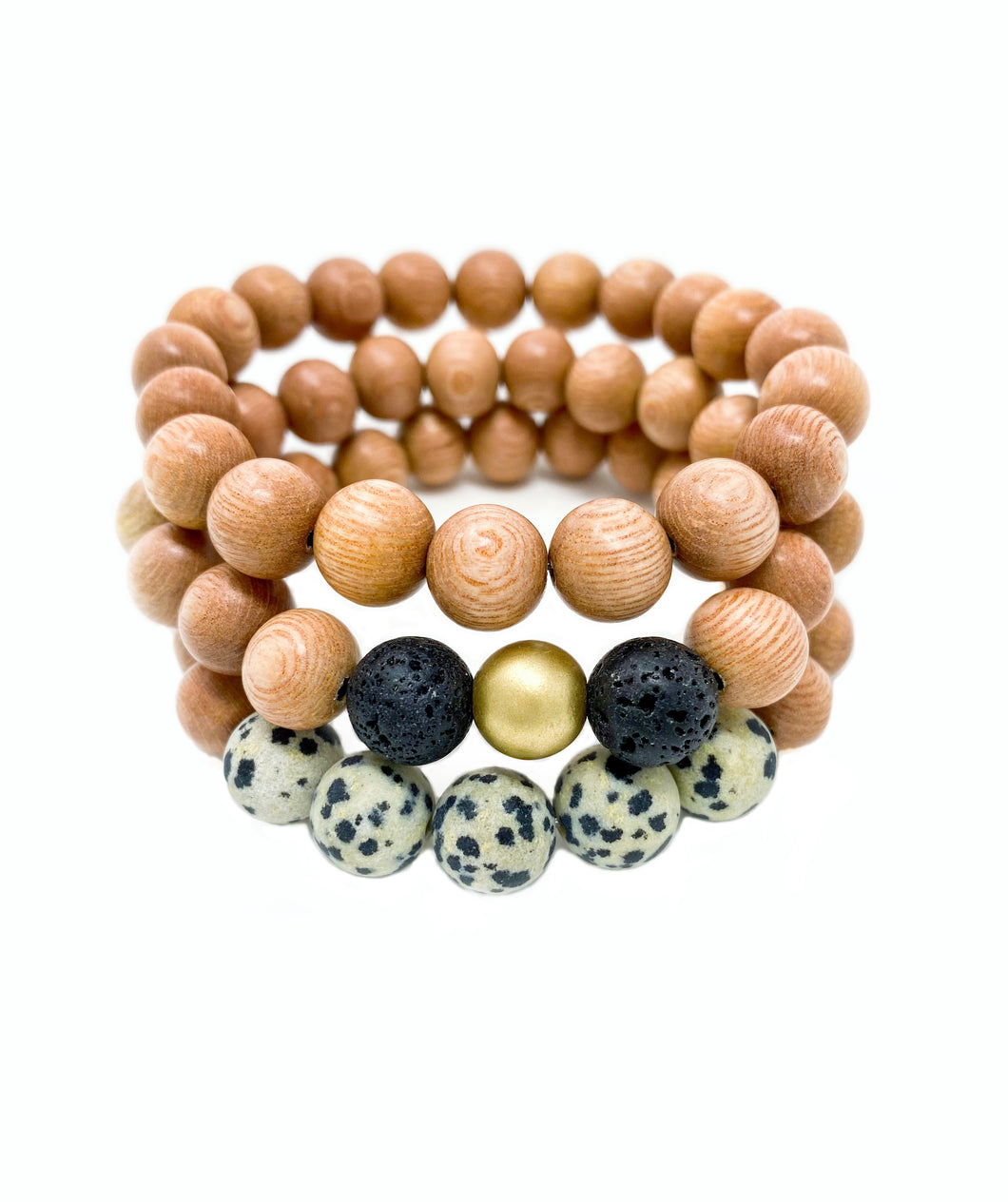 rosewood beaded bracelets | leopard, gold & black, rosewood | three