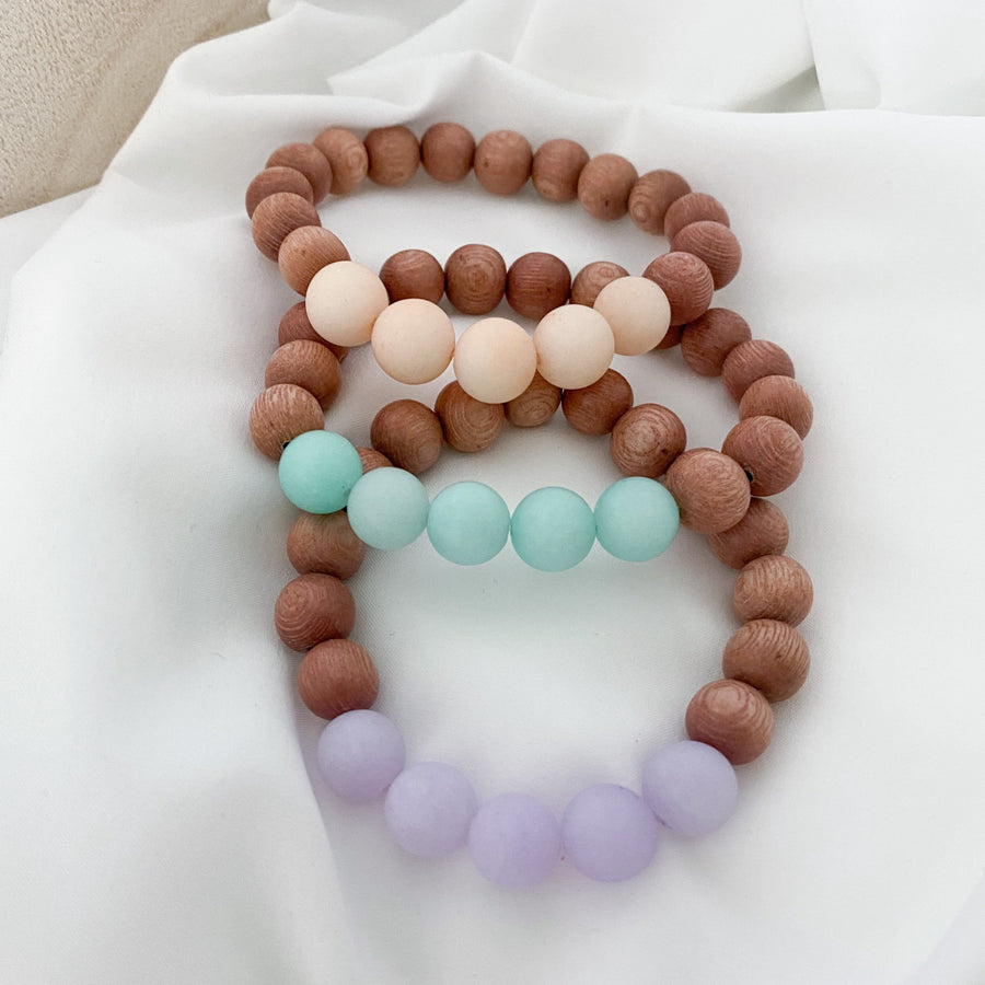 the callie | 10 mm rosewood | peach, lilac & aqua | three