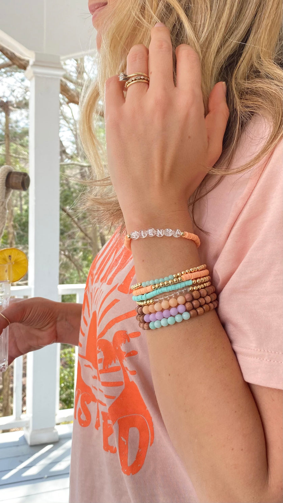 vinyl two stack | 4 mm peach & aqua | two