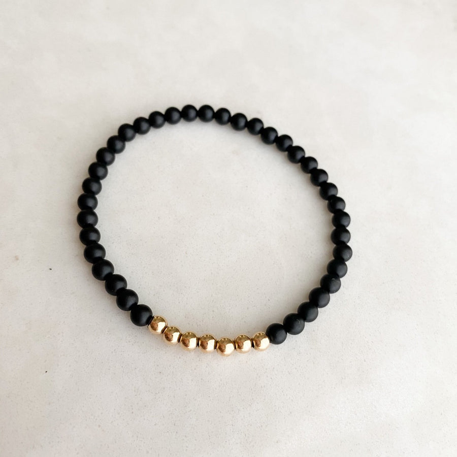single | 4 mm black onyx | 7 precious metal | one