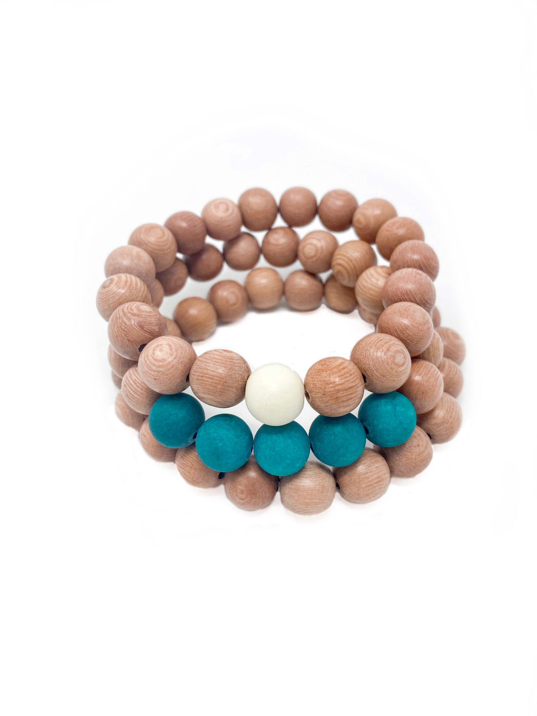 rosewood beaded bracelets | teal, cream, rosewood | three
