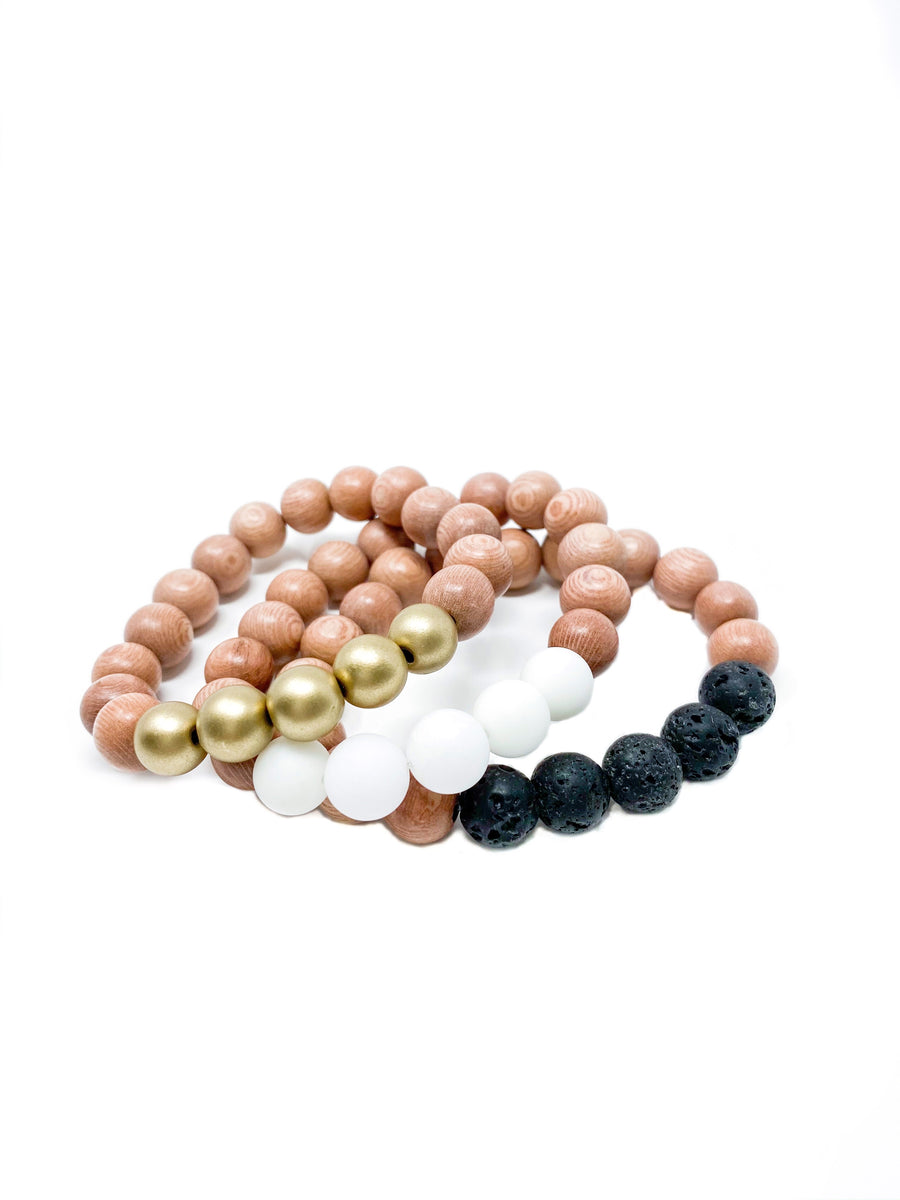 rosewood beaded bracelets | black, white, gold | three