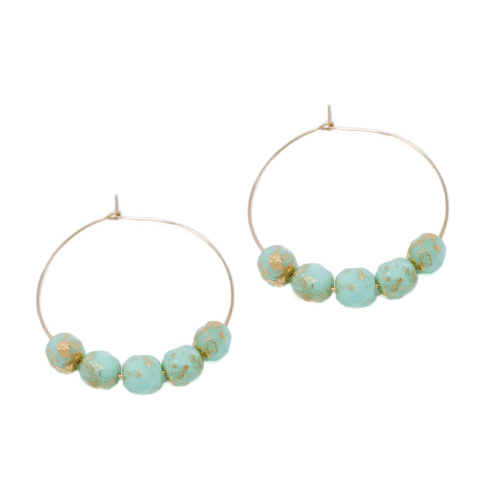 hoop earrings 35 or 30 mm | 14k gold-filled | aqua