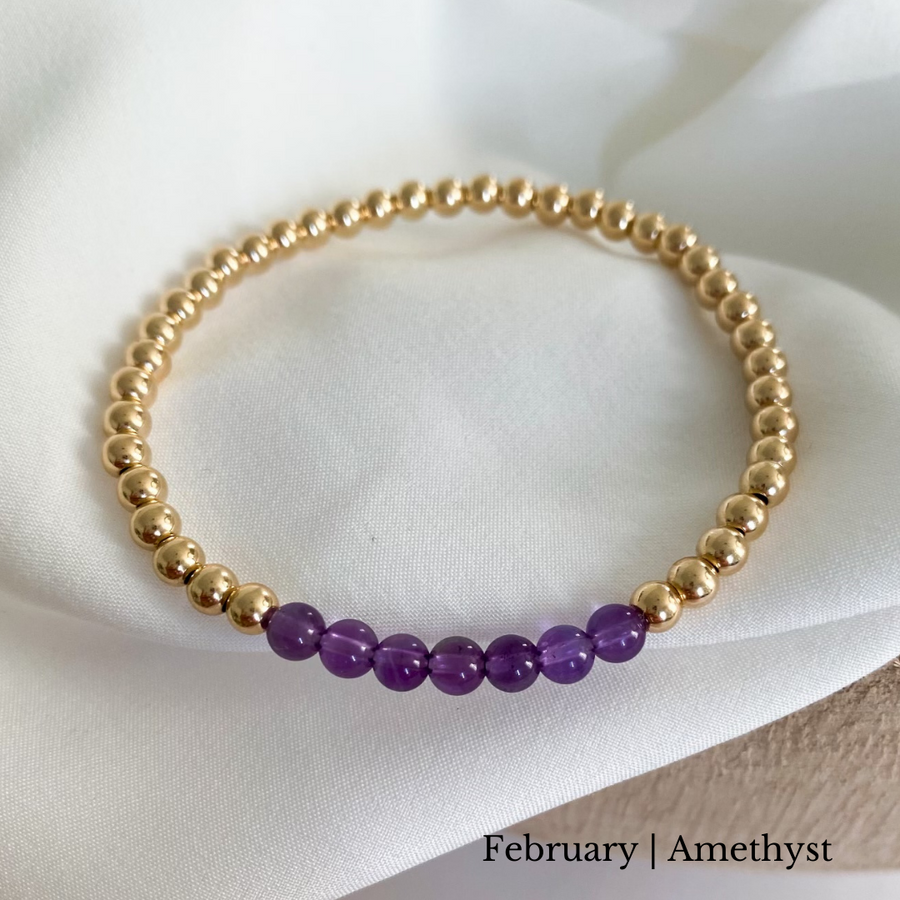birthstone | single bracelet | 4 mm 14k gold filled